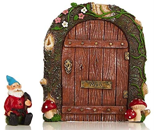 Purple Tree Line Fairy Garden Door with Attached Mushroom and Gnome for Your Magical Miniature Collection, Patio, Yard, Lawn, Outdoor or Indoor. Great Addition to Your Tree Art Pieces, Fairies