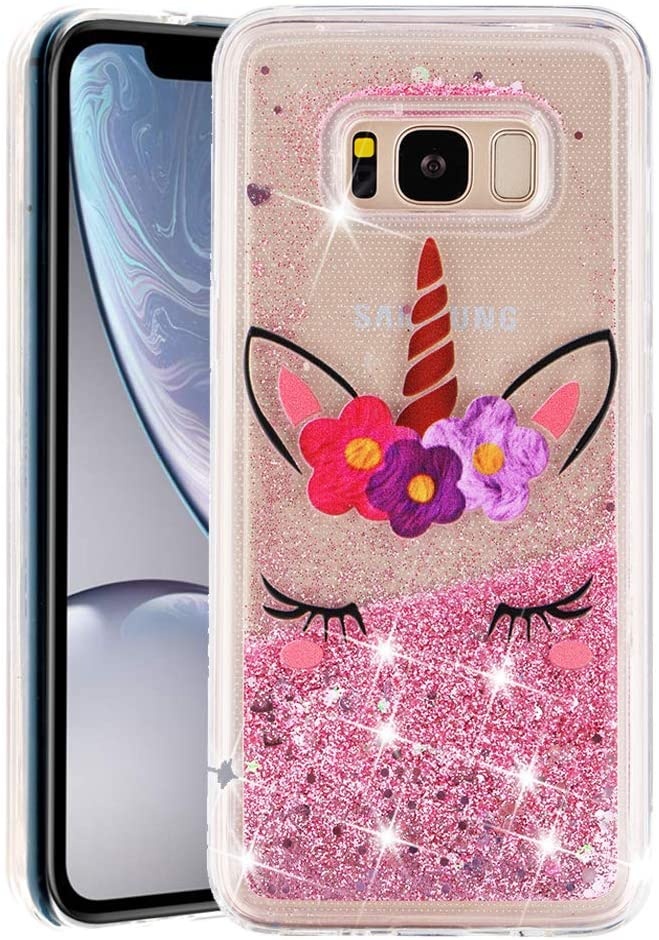 MRSTERUS Galaxy S8 case Sparkling Floating Flashing Liquid Quicksand Clear and Soft TPU Silicone Shockproof Protection Bumper Thin Cover for Galaxy S8 Eyelash Unicorn XYL