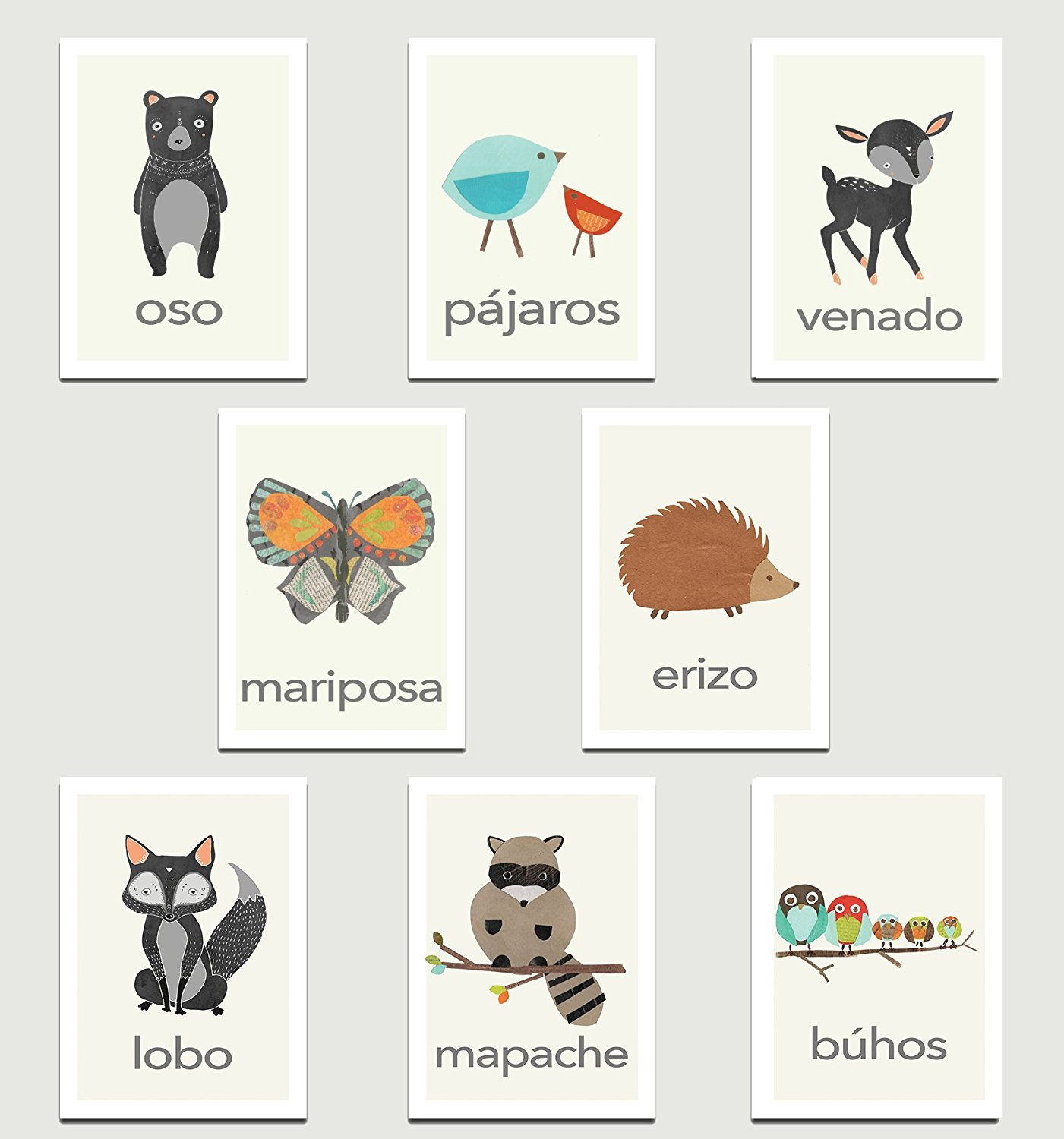 Nature Animals in Spanish Mini Collection Wall Card Prints, Animals, Flash Cards, Minimalist Design, Calming Colors, Wall Cards, Educational Cards, Children Animal Cards