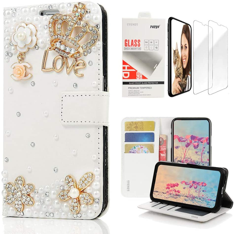 STENES Bling Wallet Case Compatible with Samsung Galaxy S10 Plus 6.4 Inch (2019 Release) - Stylish - 3D Handmade Crown Floral Flowers Leather Case with Wrist Strap & Screen Protector [2 Pack] - White