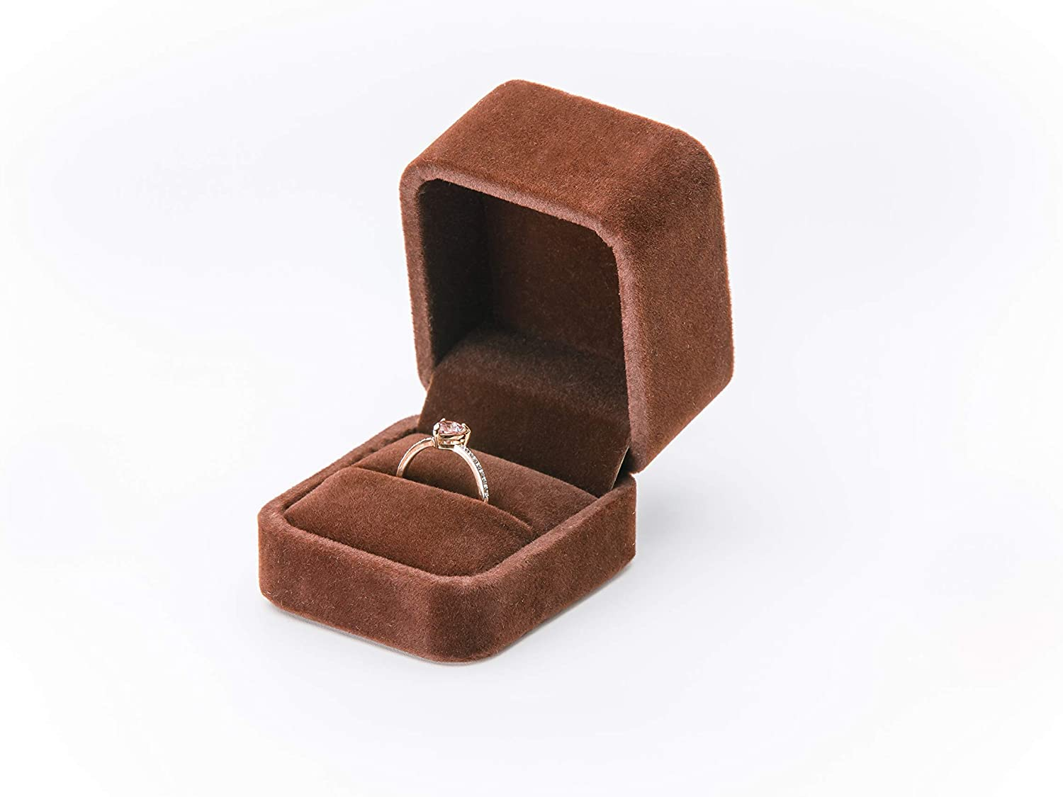 Ring Box for Proposal. Classic Small Fancy Velvet Engagement or Wedding Ceremony Ring Case Organizer Pouch/String Bag Holder for Presentation, Display or Storage. Black Navy Red Pink Brown Beige