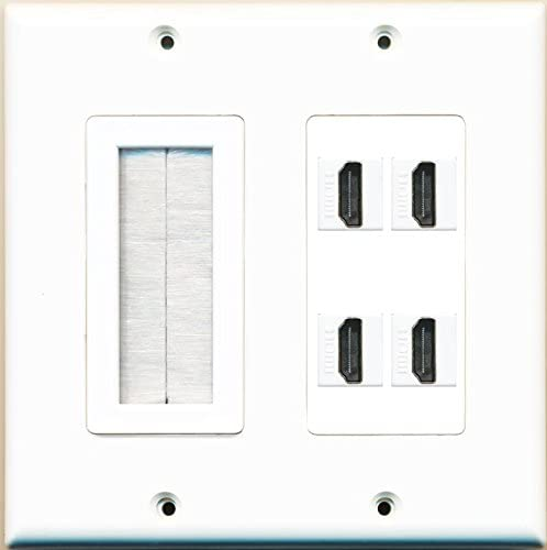 RiteAV Brush Plate and 4 HDMI White Wall Plate White
