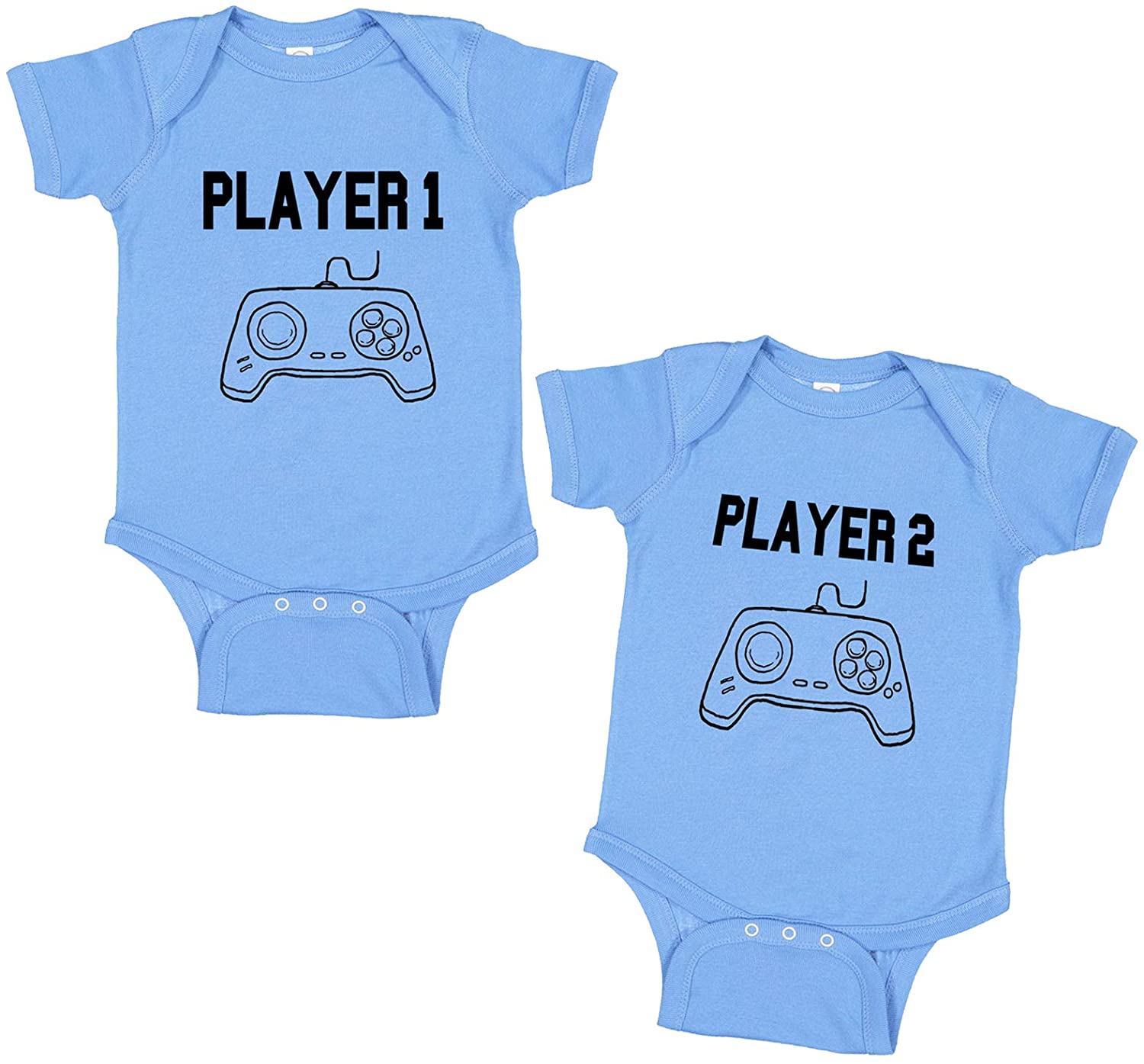 FunnyThreadz Baby Boy Girl Newborn Video Gaming Twin Set of 2 Onesies Player 1 Player 2 Shirts Tees Two