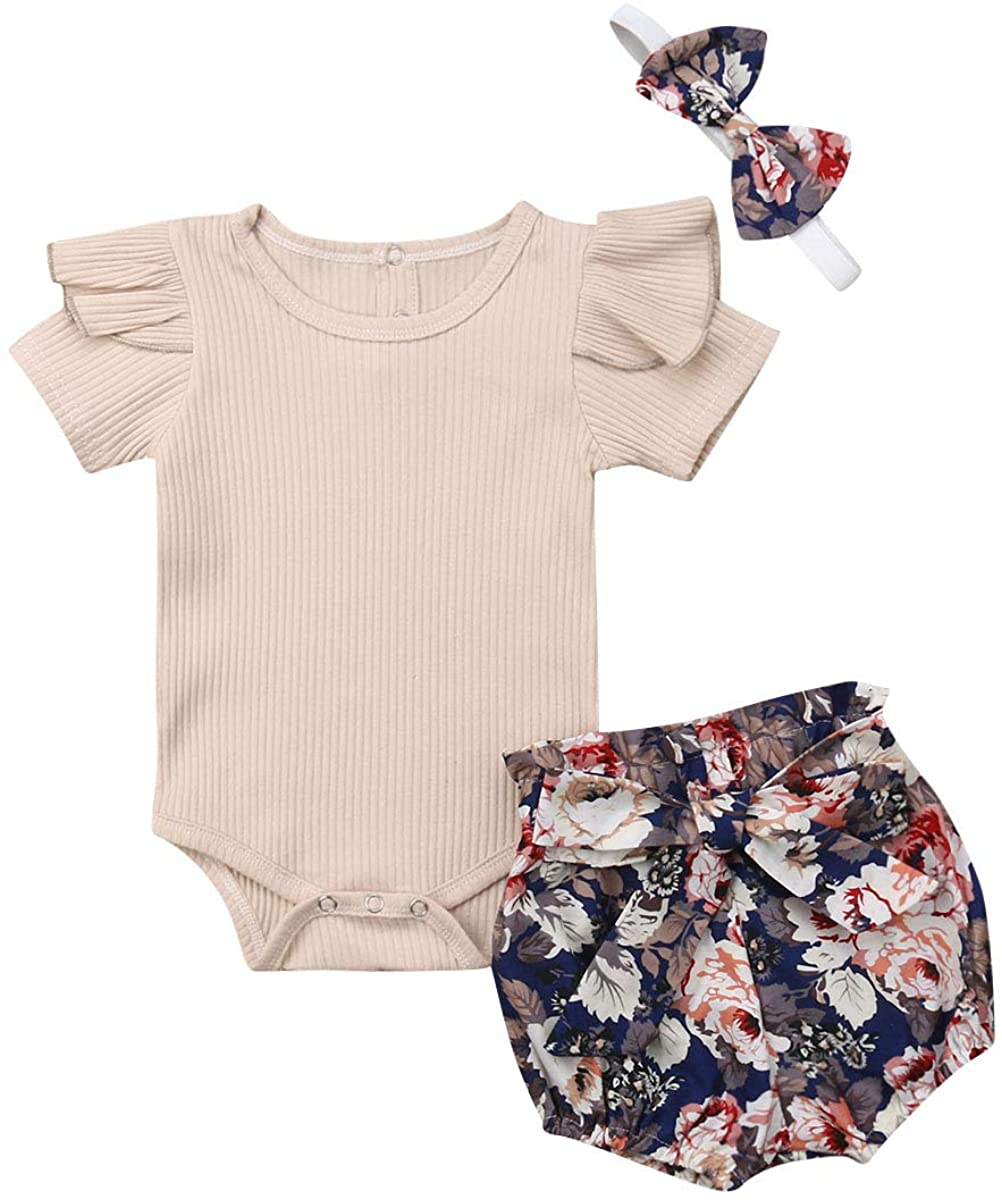 0-18M Baby Girls Ruffle Sleeve Romper Bodysuit Jumpsuit Flower Pants Floral Outfits Sets 3Pcs Baby Summer Clothes