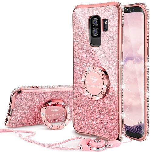 Galaxy S9 Plus Case, Glitter Luxury Bling Diamond Rhinestone Bumper Cute Galaxy S9 Plus Phone Case for Girls with Ring Kickstand Protective Samsung Galaxy S9 Plus Case for Girl Women - Rose Gold Pink