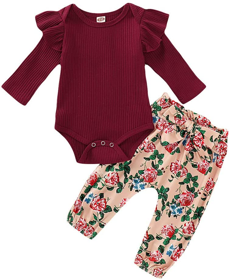 Ywoow 3M-18M Baby Long Sleeve Frills Solid Color Hanging Romper Garment + Floral Pants Set Infant Baby Girls Ruffles Solid Romper Bodysuit+Floral