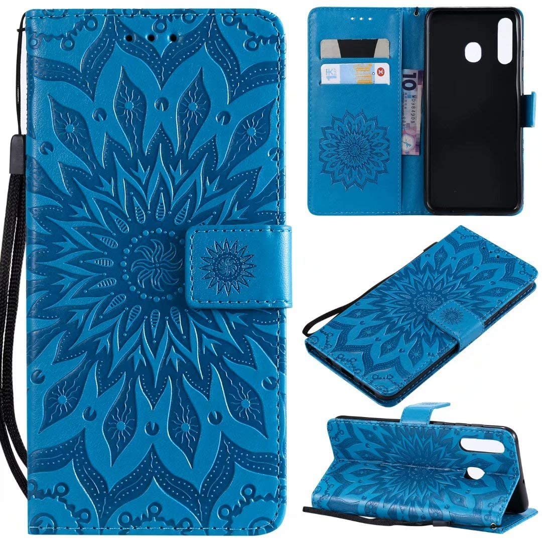 Cmeka 3D Sunflower Wallet Case for Samsung Galaxy A20 / Galaxy A30 with Credit Card Slots Holder Magnetic Closure Slim Flip Leather Kickstand Function Protective Case Sky Blue