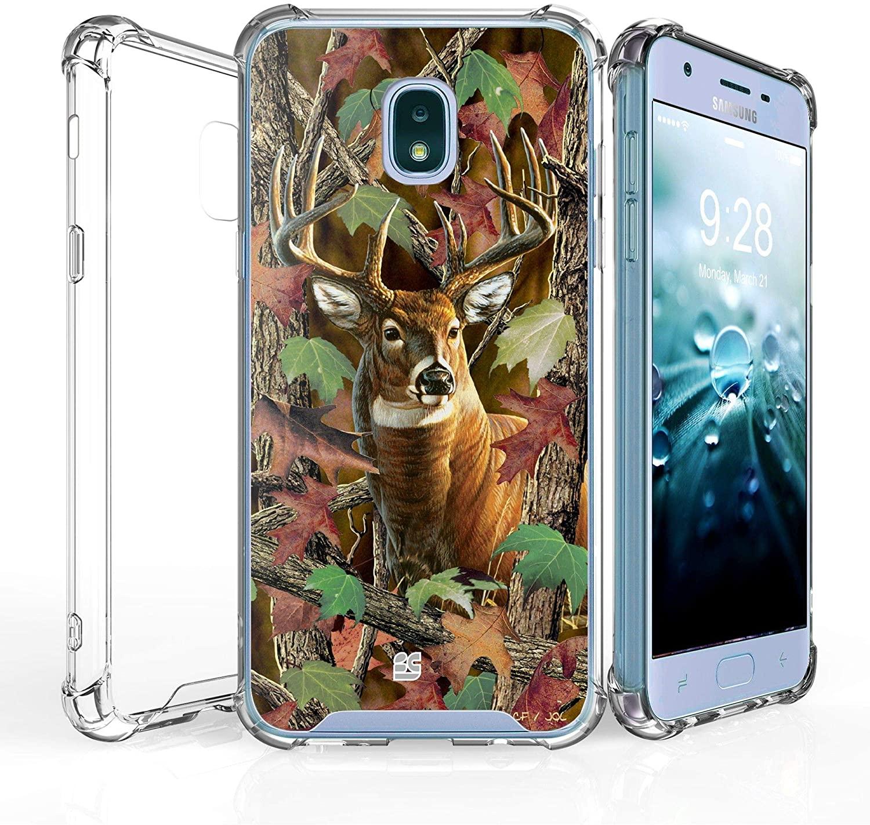 Compatible with Samsung Galaxy J7 (2018), J7 Refine, J7 Star, J7V 2nd Gen, J737 [Shockproof] Hybrid Slim Cover w/[Air Pocket Corners] Case - Buck Camo