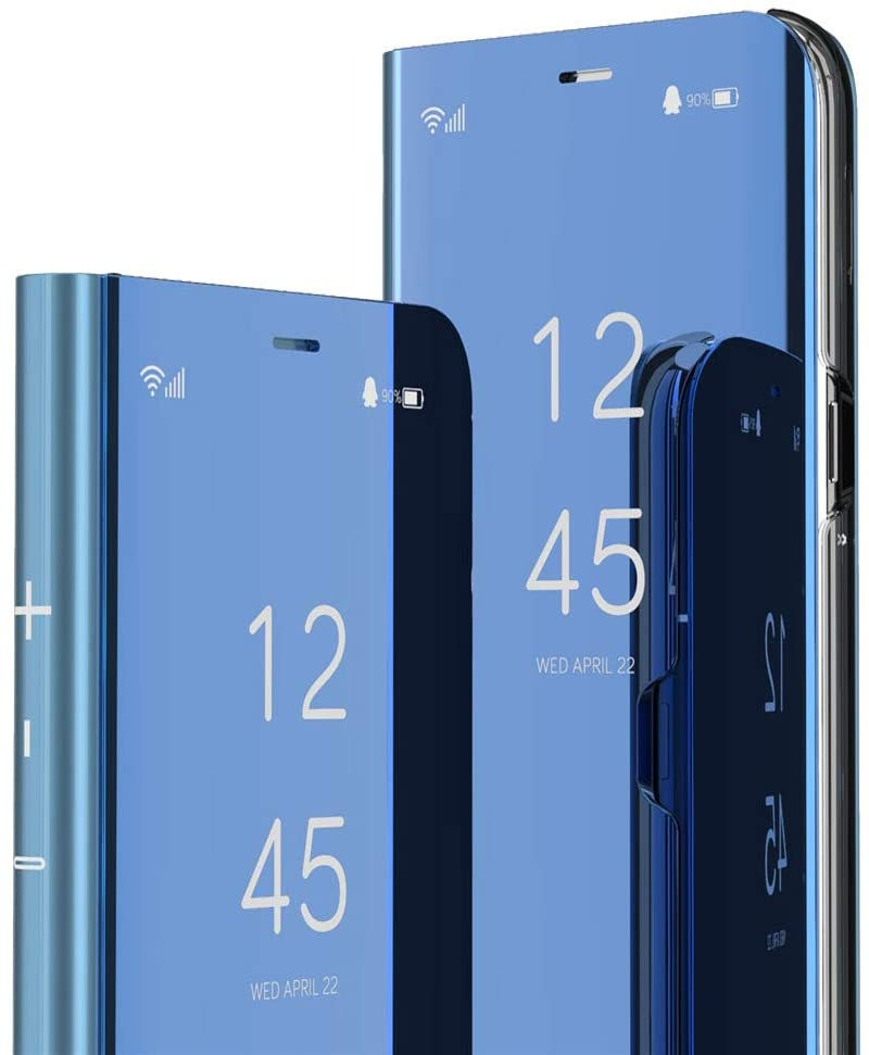 MEIKONST Google Pixel 4A Case, Stylish PU Mirror Flip Ultra Slim Cover Scratchproof Electroplate Clear View Window with Kickstand Full Body Protective Cover for Google Pixel 4A,QH Mirror Blue