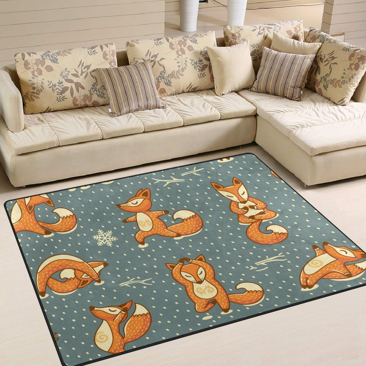 ALAZA Christmas Funny Yoga Fox Kids Area Rug, Non-Slip Floor Mat Soft Resting Area Doormats for Living Dining Bedroom 5' x 7'