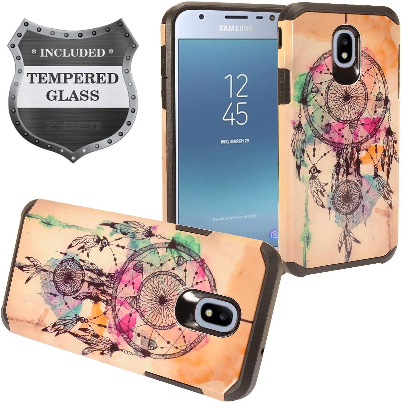 Z-GEN - Galaxy J3 2018 J3 Star/Achieve/Aura/Orbit, Sol3, Express Prime 3, Amp Prime 3, J3 V J3V 3rd Gen J337 - Hybrid Image Case for Samsung + Tempered Glass Screen Protector - AD1 Dream Catcher