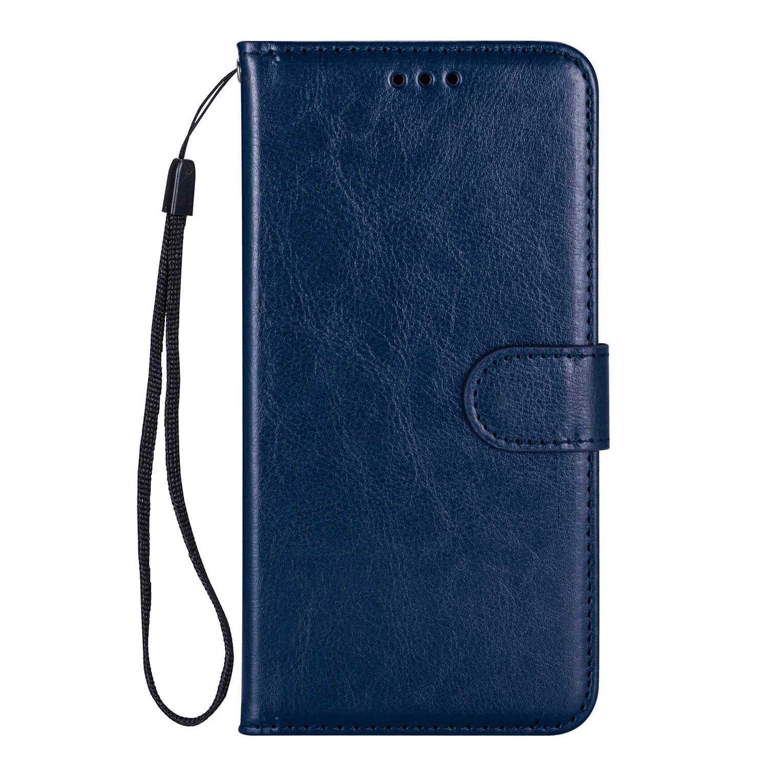 PU Leather Flip Cover Compatible with iPhone Xs Max, Elegant Blue Wallet Case for iPhone Xs Max
