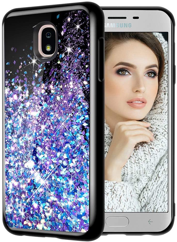 Caka Case for Galaxy J7 Refine 2018 Glitter Case, Galaxy J7 Crown Bling Case, Galaxy J7 Star Case, Galaxy J7 V J7V 2nd Gen Case, J7 Aura Aero Case Flowing Liquid Case for Galaxy J7 2018 (Blue Purple)