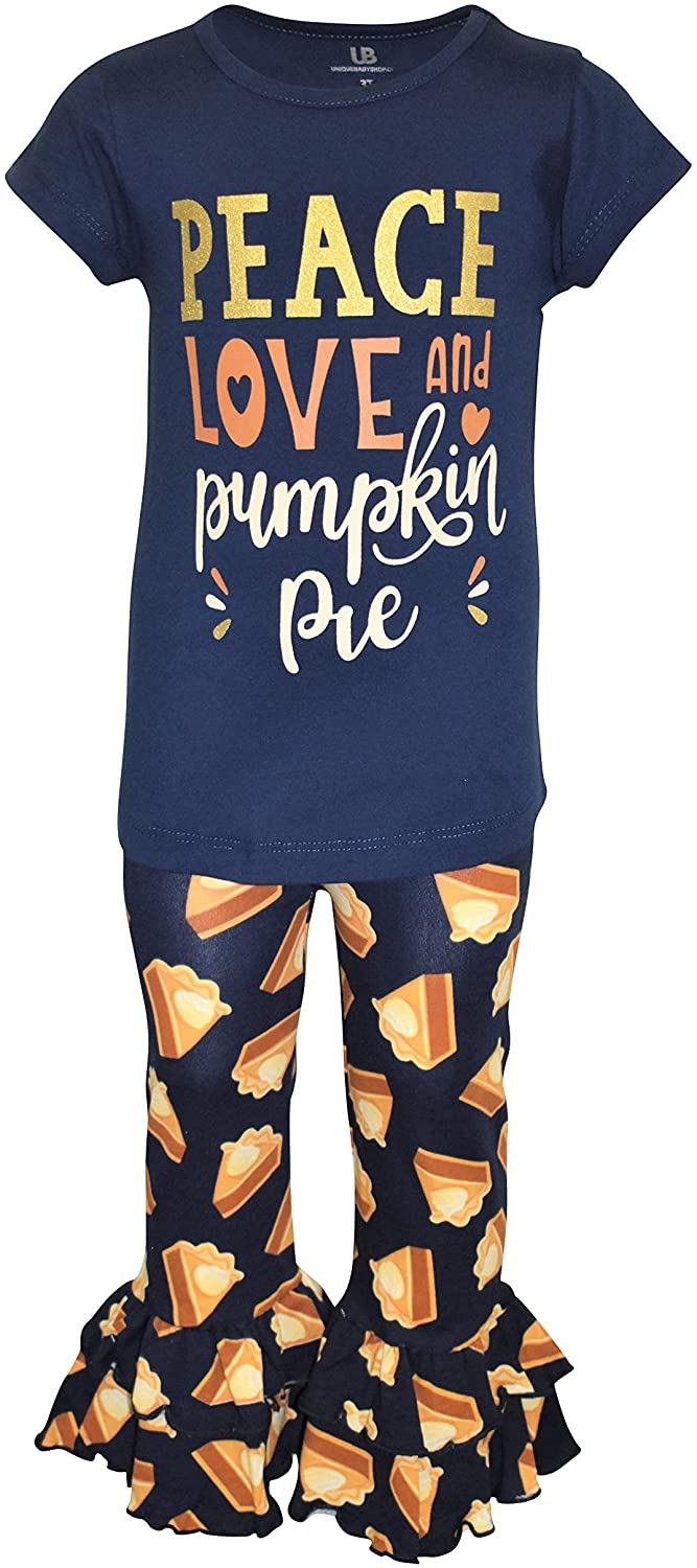 Unique Baby Girls Peace Love and Pie 2pc Thanksgiving Legging Set