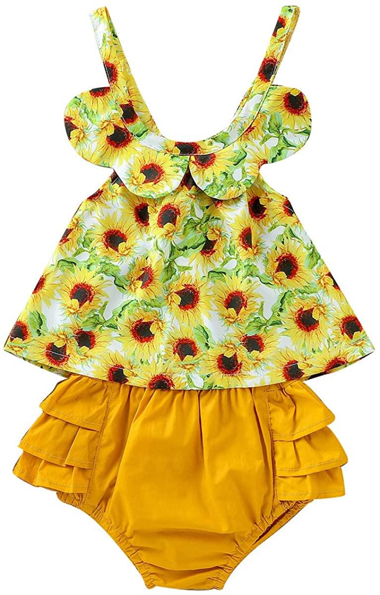 FAMKIT 2pcs Newborn Baby Girl Outfits Sunflower Sleeveless Shirt and Ruffled Shorts Suit