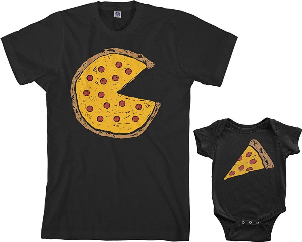 Threadrock Pizza Pie & Slice Infant Bodysuit & Men's T-Shirt Matching Set (Baby: 12M, Black|Men's: M, Black)