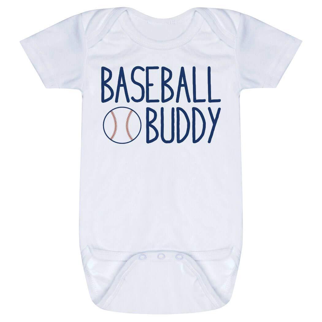 ChalkTalkSPORTS Baseball Baby & Infant Onesie | Baseball Buddy | Navy | One Piece Newborn