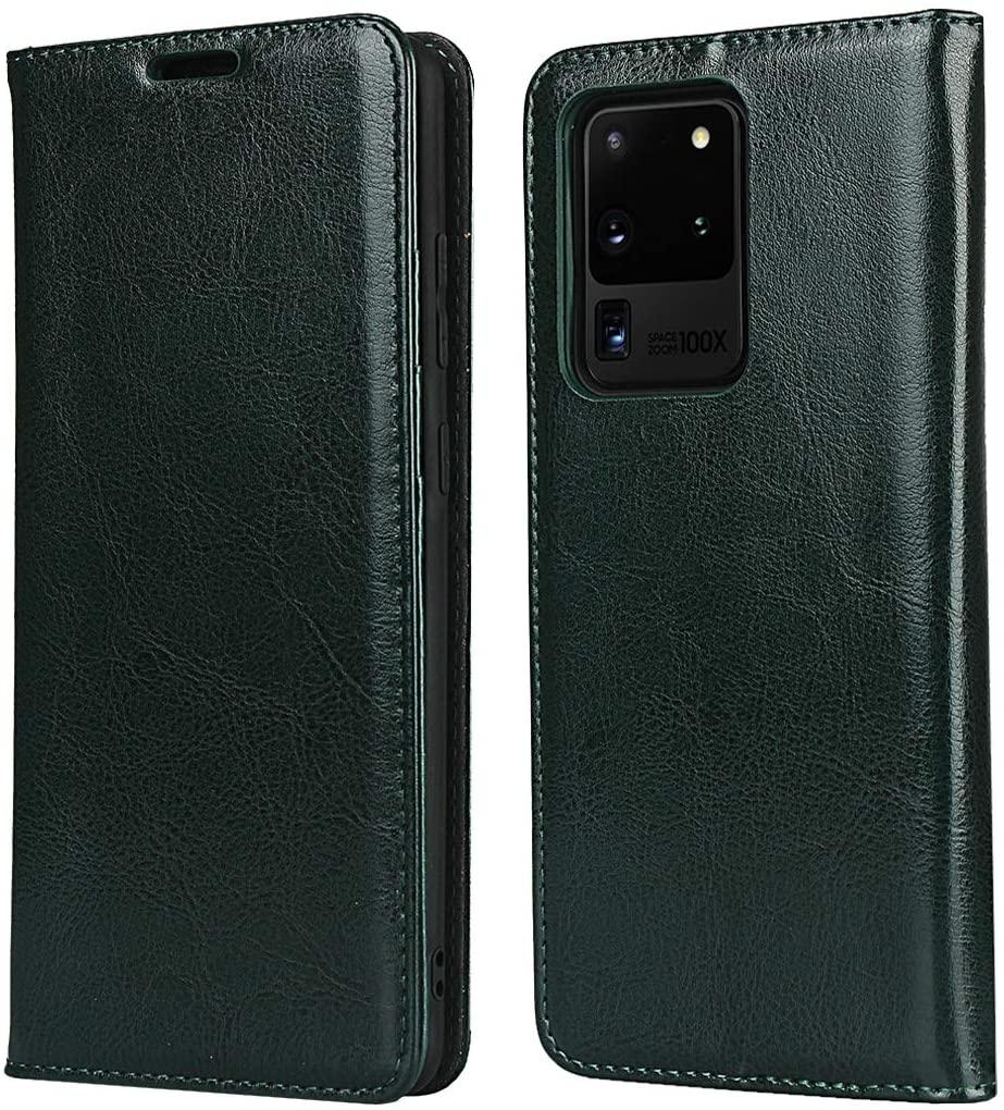 Cavor Samsung S20 Ultra Case, Genuine Leather Wallet Card Holder Case Flip Shockproof Cover for Samsung Galaxy S20 Ultra - Dark Green