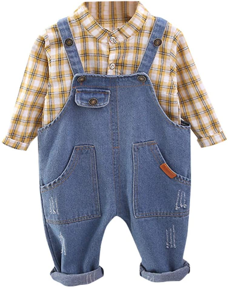 Printasaurus Outfits Clothes for Boy and Girl, Toddler Kids Baby Boys Plaid Shirt Tops Tee+Denim Jean Pants Overalls Outfits, Boys Outfits&Set