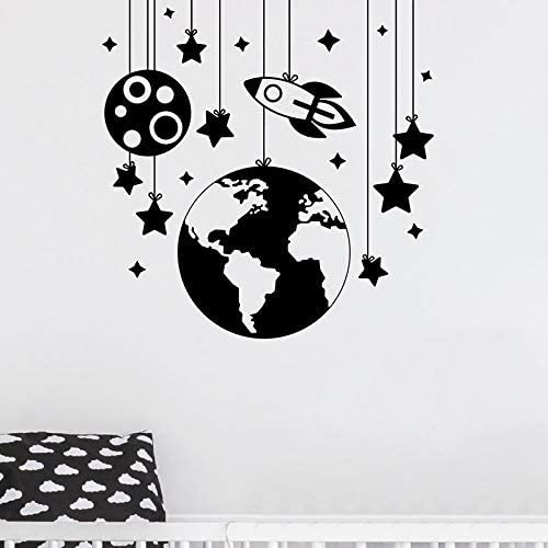 Planet Wall Stickers Rocket Decals Nursery Room Decor Space Ship Vinyl Wall Decal Kids Room Boys Bedroom Wall Art Decoration 58 56Cm