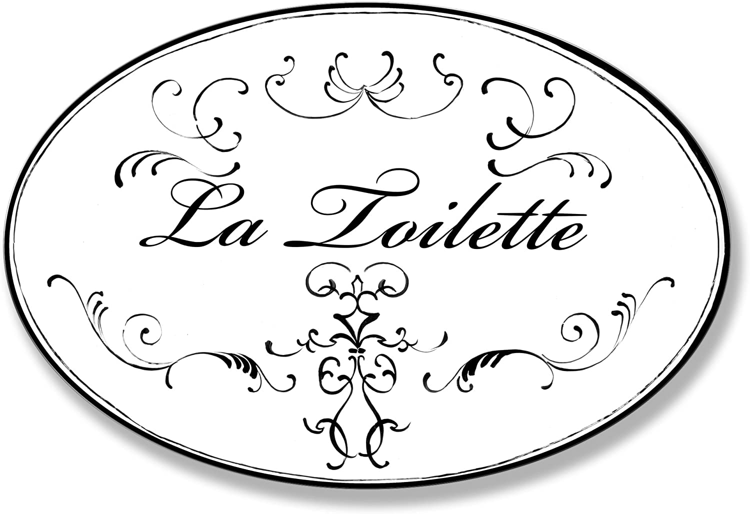 The Stupell Home Décor Collection La Toilette White With Black Scrolls Oval Bathroom Wall Plaque, 10 x 0.5 x 15, Proudly Made in USA - WRP-820