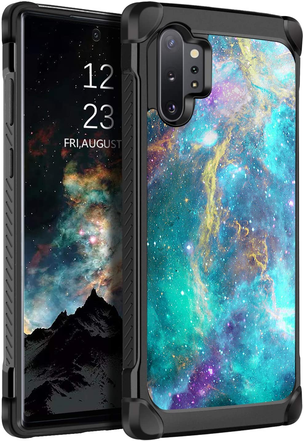 BENTOBEN Samsung Galaxy Note 10 Plus Case, Glow in The Dark Dual Layer Shockproof Hybrid Hard PC Soft TPU Bumper Rugged Anti-Slip Protective Cases for Galaxy Note 10+ Plus 5G 6.8 Inch 2019, Green