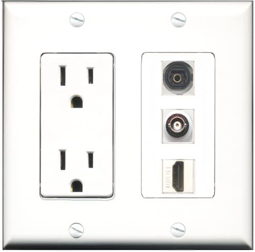 RiteAV - 15 Amp Power Outlet 1 Port HDMI 1 Port Toslink 1 Port BNC Decorative Wall Plate