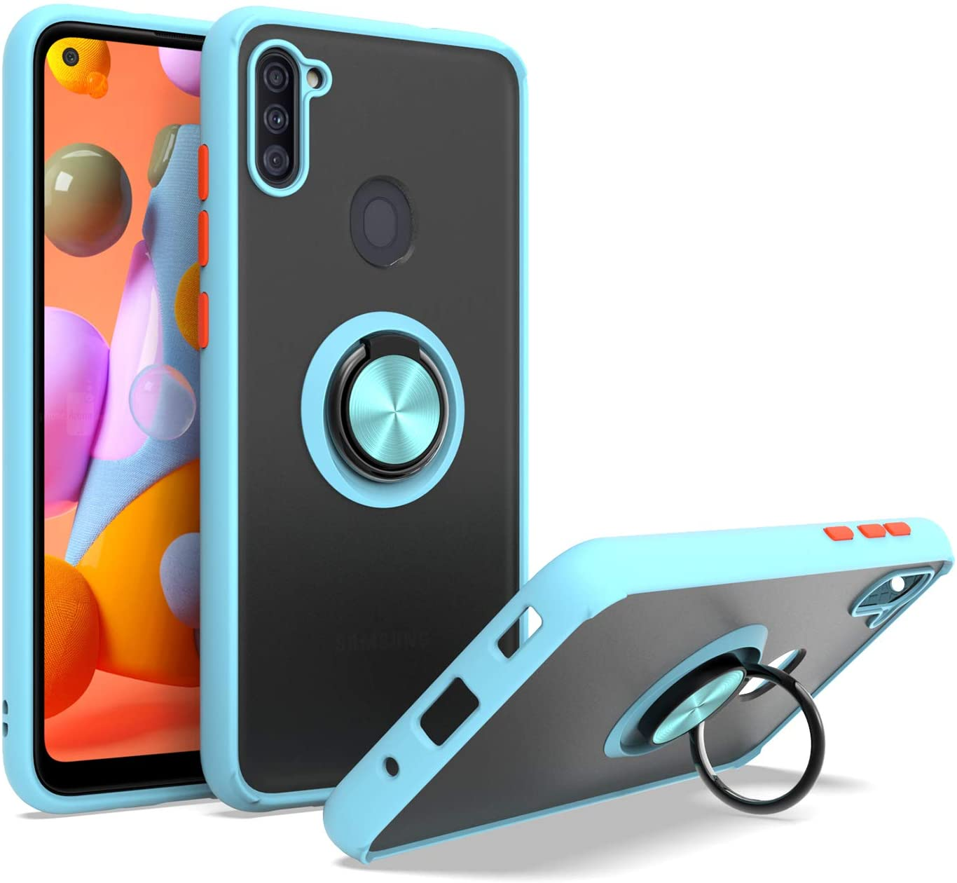 EnCASEs Cell Phone Case for Samsung Galaxy A11, Slim TPU with Metal Ring Kickstand, Shockproof Bumper Protection Case, Teal