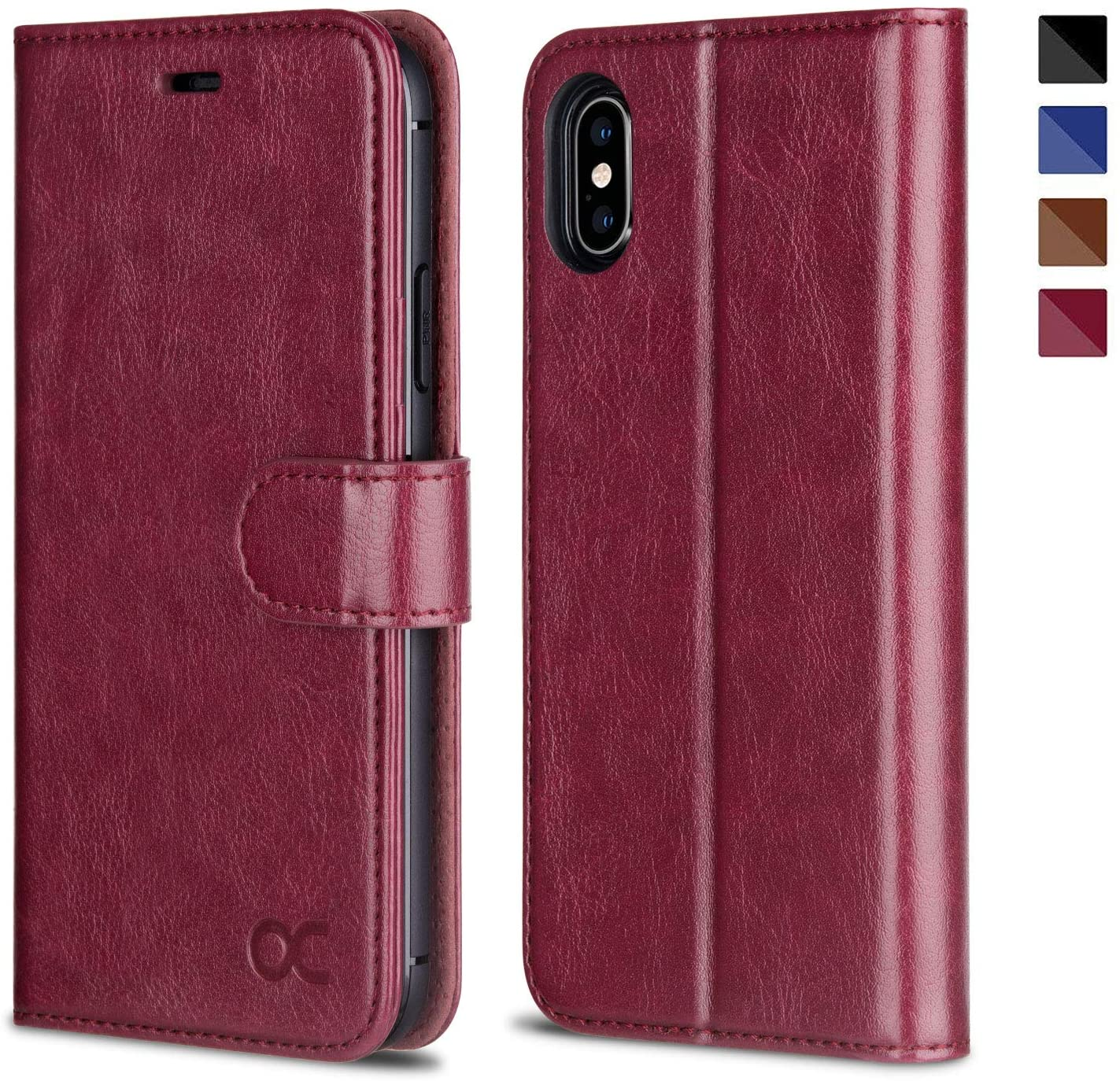 OCASE iPhone X Wallet Case, iPhone 10 Case [ Wireless Charging ] [ Card Slot ] [ Kickstand ] Leather Flip Wallet Phone Cover Compatible for iPhone X/iPhone 10 - Burgundy