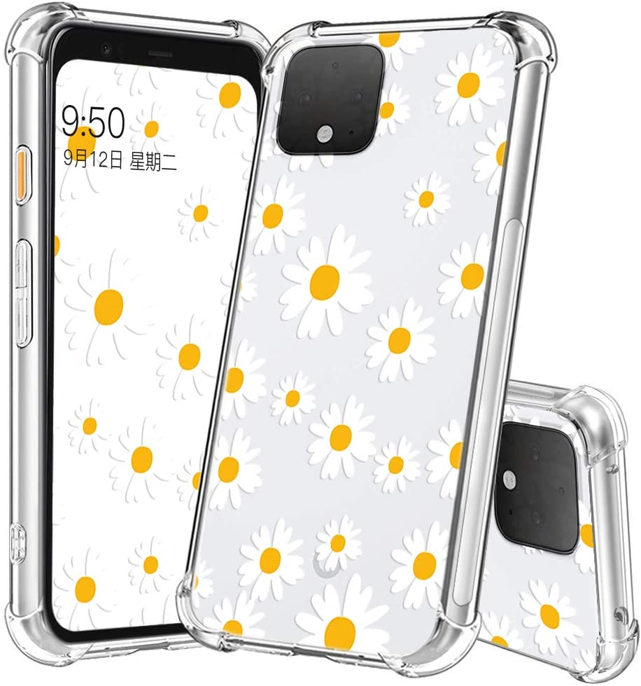 YESPURE Google Pixel 4 Case Fashion Daisy Design TPU [Shock Absorbing] Soft Flexible Protective Case Cover for Google Pixel 4 - Daisy