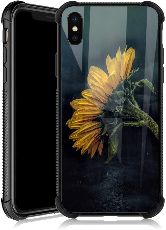 iPhone Xs Case,Sunflower in The Rain iPhone X Cases for Girls,Tempered Glass Back Cover Anti Scratch Reinforced Corners Soft TPU Bumper Shockproof Case for iPhone Xs Night Lonely Strong