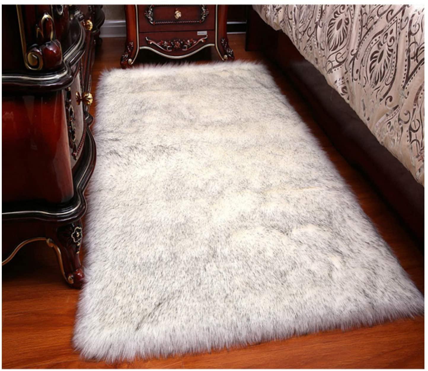 Elhouse Home Decor Rectangle Rugs Faux Fur Sheepskin Area Rug Shaggy Carpet Fluffy Rug for Baby Bedroom,2ftx3ft,White+Grey