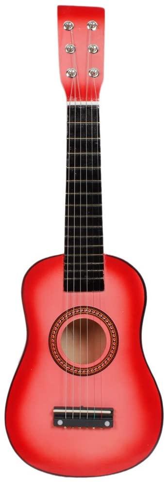 6 String Beginner Acoustic Guitar Cutaway Wooden Guitar for Kids Beginners (23 Inch, Pink)