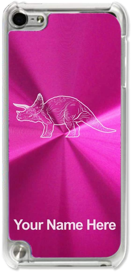 Case Compatible with iPod Touch 5th/6th/7th Generation, Triceratops Dinosaur, Personalized Engraving Included (Pink)