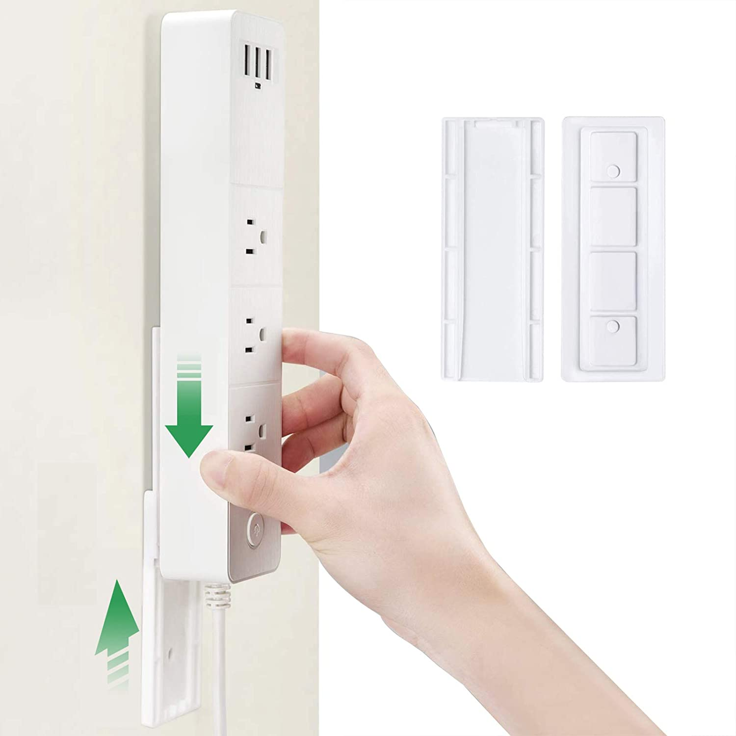 Self Adhesive Power Strip Holder Punch Free Wall-Mounted Socket Sticker Fixator for Photo Frame, Wall Clock, Cabinet Light, WiFi Router(2 Pack)