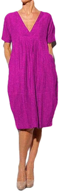Zeious Women Cotton Linen Deep V-Neck Summer Loose Pockets Short Sleeve Dress