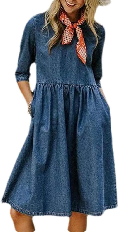Zeious Women Summer Half Sleeve Denim Casual Pockets A-Line Midi Dress