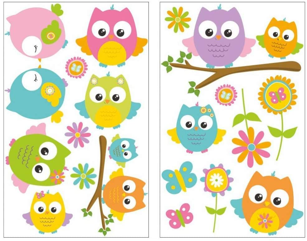 EricauBird Decal Sticker-16-piece Baby owl Wall Decal Set Nursery Baby Room in 5 Sizes (2x33x52cm Multicolored) Wall Art