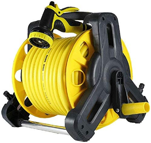 WUAZ Mobile Hose Reel,Can Be Removed at Any Time,Spray Nozzle, and System Parts,Suitable for Garden Watering, Car/Machine Washing,30m