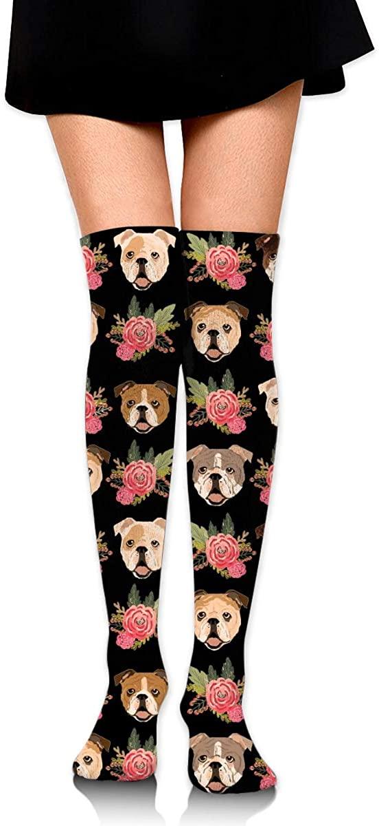 Women's Knee High Socks Pit Bull With Pink Flowers Running Travel Girls Leg Warmer Dresses Trouser Knit Long Boot Stockings