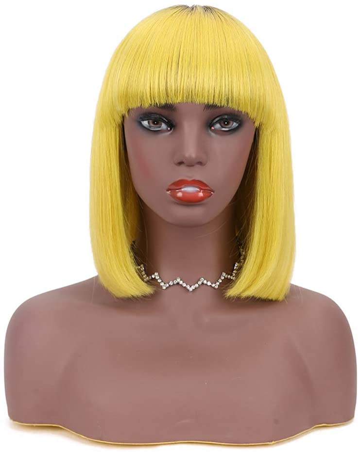 Ktong Short Bob Wigs Yellow for Women with Flat Bangs Straight Synthetic Wig Natural As Real Hair 10''