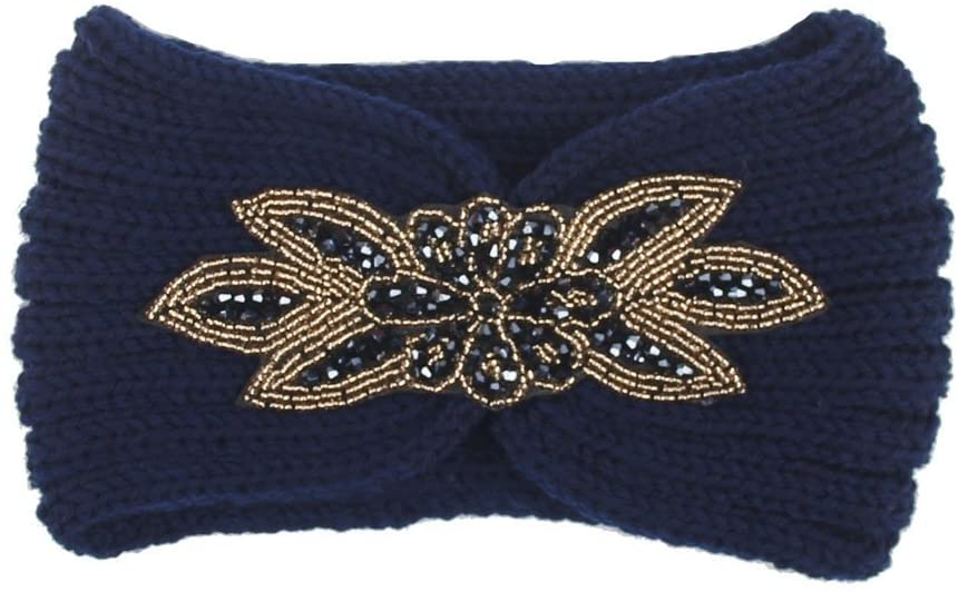 Women Knitted Headbands Winter Warm Head Wrap Wide Hair Accessories, Headband, Clothing Shoes & Accessories (Navy)