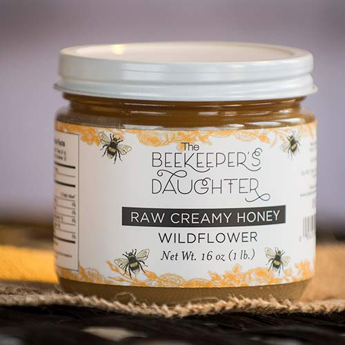 Raw Creamed Honey 1 Lb Jar by the Beekeeper's Daughter - Plain Creamed Honey (1 pound)