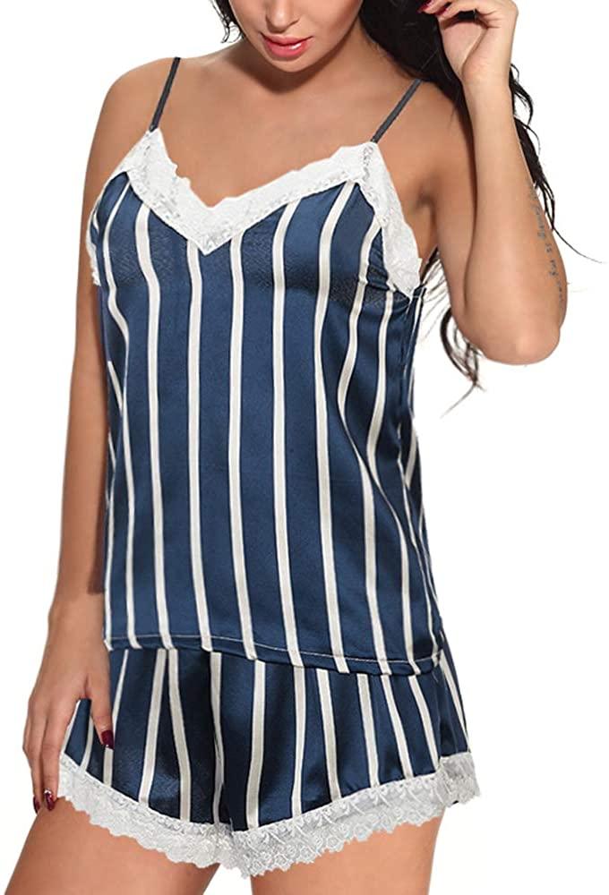 QuneusHot Women Camisole Lingerie Pajamas Set PJS V Neck Satin Silk Lace Trim Stripe Chemise