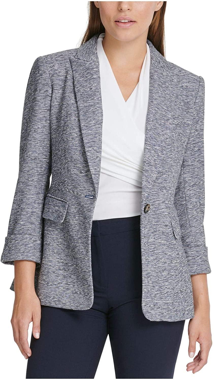 DKNY Womens Blue Heather Blazer Jacket Size 2