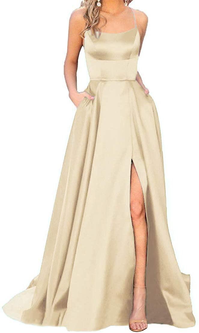 Halter Split Prom Dress Satin Long A-Line Spaghetti with Pockets for Women 2020