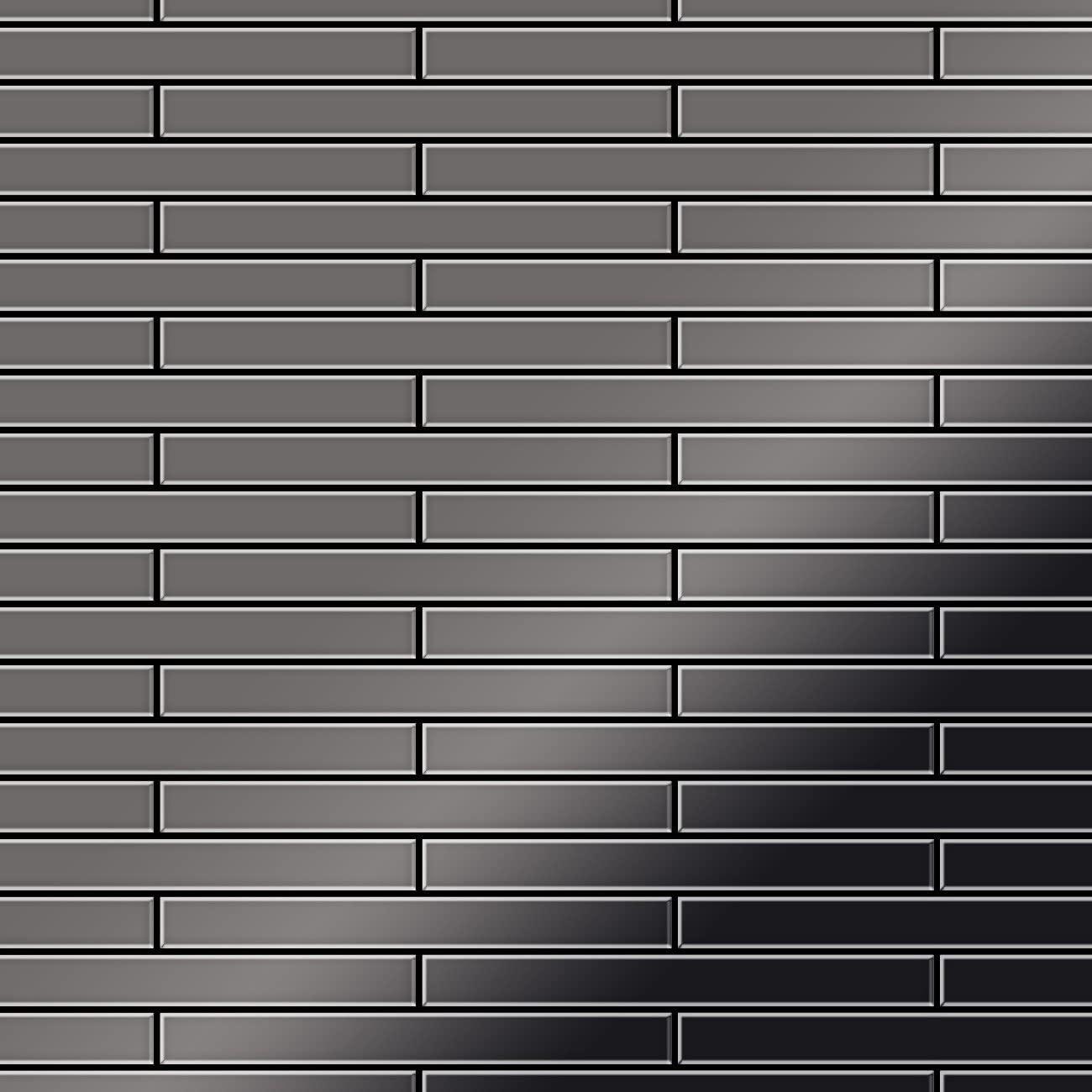 Mosaic Tile massiv Metal Titanium Smoke Mirror Dark Grey 1.6mm Thick ALLOY Deedee-Ti-SM