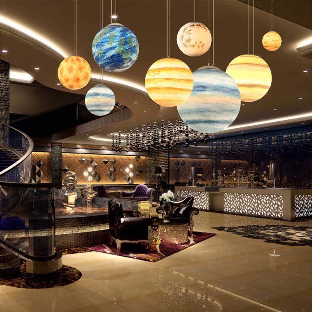 KFDQ Nordic Modern Creative Universe Planet Resin Chandelier Living Room Restaurant Hotel Cafe Bar Ceiling Light E27,Venus,Diameter 30cm