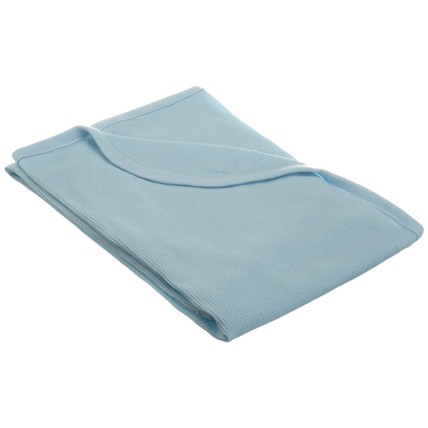 TL Care 100% Natural Cotton Swaddle/Thermal Blanket, Blue, Soft Breathable, for Boys and Girls