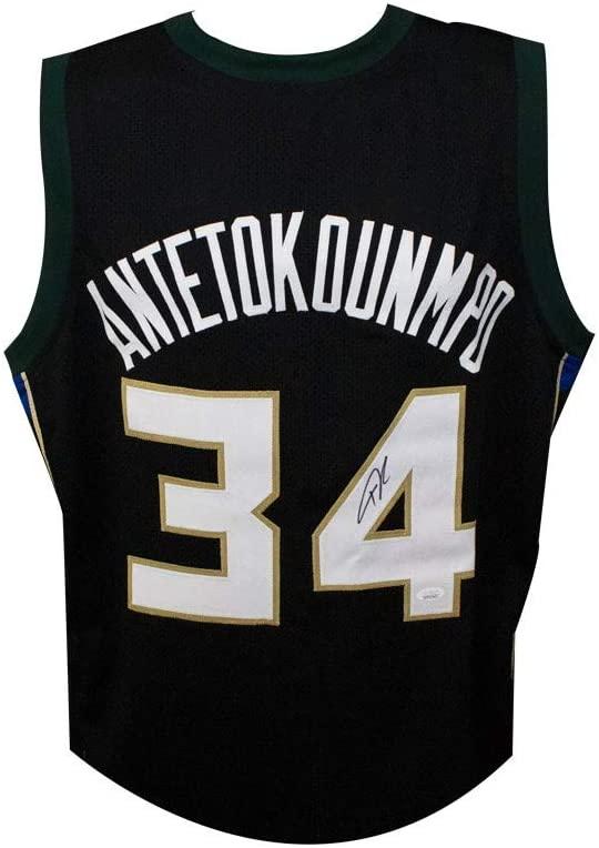 Giannis Antetokounmpo Autographed Milwaukee Bucks Custom Black Basketball Jersey - JSA COA